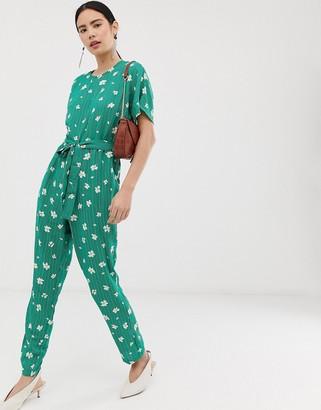 Pieces Elli floral print wide leg jumpsuit-Green