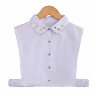 XueXian Shirt Collar Women's Ladies Crystal Cuff Choker Blouse (White(Pearl))