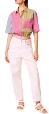 French Connection Ayami Cotton Striped Cropped Shirt