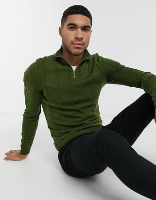 ASOS DESIGN knitted wide rib half-zip jumper in khaki