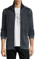 John Varvatos Funnel-Neck Ribbed Front-Zip Sweater, Eclipse