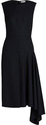 Alexander McQueen Side Drape Pinstripe Dress