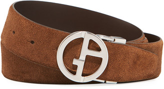 Giorgio Armani Men's Reversible Suede/Leather Logo-Buckle Belt