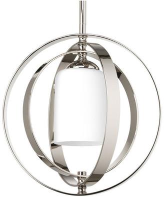 Progress Lighting 1-Light Small Foyer Lantern, Polished Nickel