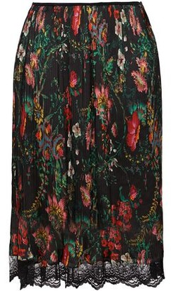 Paco Rabanne Chantilly Lace-trimmed Pleated Floral-print Satin Skirt