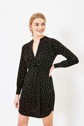 Oasis Womens Spot Pintuck Shirt Dress - Black