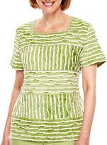Alfred Dunner Key Largo Short-Sleeve Spliced Striped Top - Petite