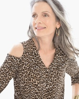 Chico's Leopard Cold Shoulder Blouse