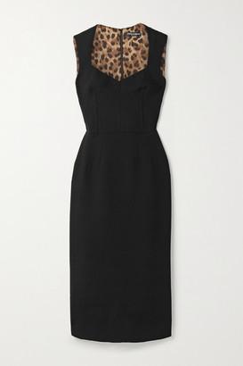 Dolce & Gabbana Wool-blend Crepe Midi Dress - Black