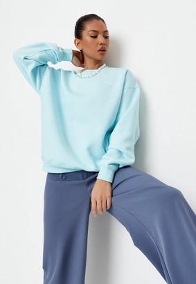 Missguided Blue Oversized Sweatshirt