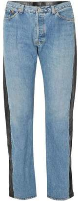 Vetements Leather-paneled High-rise Straight-leg Jeans