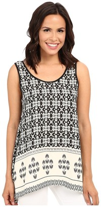 Karen Kane Women's Border Print Handkerchief Tank Medium