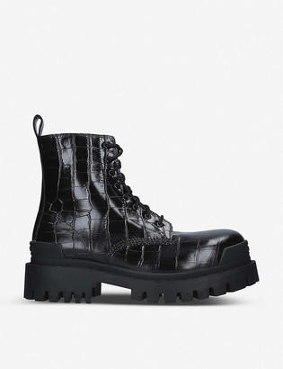 Balenciaga Strike croc-embossed leather platform ankle boots