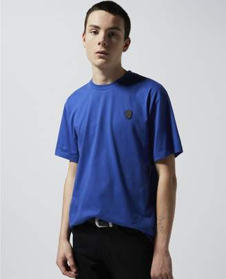 The Kooples Blue cotton T-shirt with leather breast badge