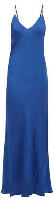 Mes Demoiselles Mabille V-neck Silk-satin Maxi Dress - Womens - Blue