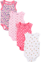 Sweet & Soft Pink & White Sleeveless Four-Piece Bodysuit Set - Infant