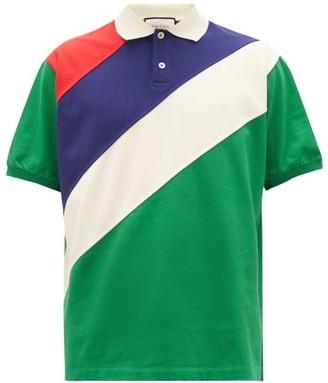 Gucci Striped Cotton-jersey Polo Shirt - Green Multi
