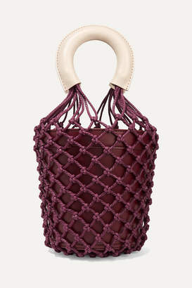 STAUD Moreau Leather And Macrame Bucket Bag - Burgundy