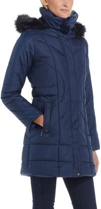 Weatherproof Women's Puffer Coats CLASSIC - Navy Hooded Longline Puffer Coat - Women