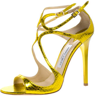 Jimmy Choo Metallic Yellow Python Embossed Leather Criss Cross Strap Sandals Size 40