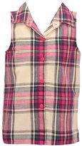 Mini Moca Little Girls Plaid Pattern Button Down Sleeveless Shirt