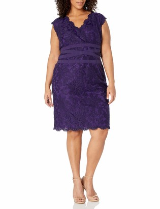 Tadashi Shoji Women's Size Embroidered Lace-Double V-Neck Dress-Plus