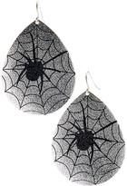 Carole Women's Earrings SILVER/JET - Silvertone & Jet Spider Web Teardrop Earrings