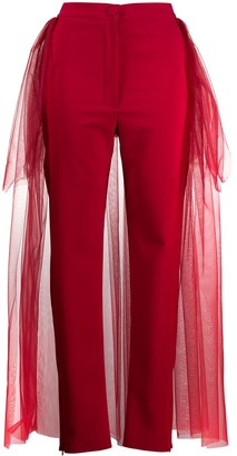 Loulou Tulle Panelled Slim-Fit Trousers