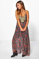 boohoo Petite Floral Print Hanky Hem Dress
