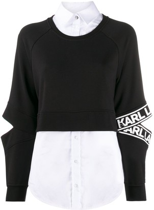 Karl Lagerfeld Paris Poplin-Panelled Sweatshirt