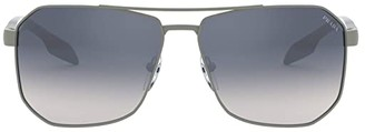 Prada Linea Rossa 0PS 51VS (Gunmetal Rubber/Light Blue/Mirror Silver) Fashion Sunglasses