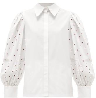 Salim Azzam - Polka Dot-embroidered Cotton-poplin Shirt - White