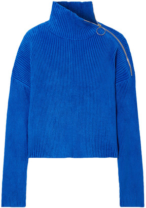 Sally LaPointe Zip-embellished Ribbed Chenille Turtleneck Sweater