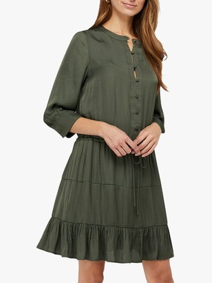 Monsoon River Satin Tiered Mini Dress, Khaki