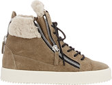 Giuseppe Zanotti Women's Shearling-Lined Double-Zip Sneakers-GREEN