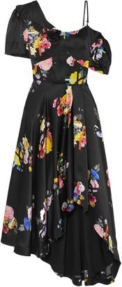 Preen by Thornton Bregazzi Irene Asymmetric Floral-print Silk-satin Dress