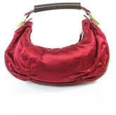 Gianfranco Ferre Red Brown Gold Tone Ruched Beguette Handbag