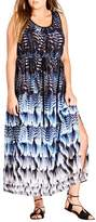 City Chic Plus Size Women's Summer Party Feather Print Maxi Dress