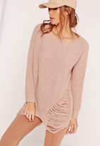Missguided Distressed Off Shoulder Sweater Pink