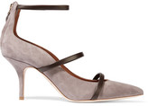 Malone Souliers Leather-trimmed Suede Pumps - Gray