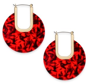 INC International Concepts Inc Large Gold-Tone Resin Hoop Earrings, Created for Macy's 2-3/4""