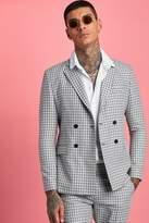 BoohoomanBoohooMAN Mens Black Gingham Double Breasted Suit Jacket, Black