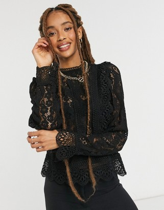 Object high neck lace top in black