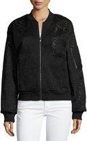 BCBGMAXAZRIA Lace-Embroidered Bomber Jacket, Black
