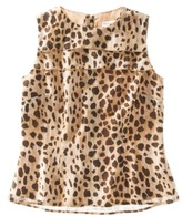 Merona Womens Sleeveless Tiered Front Top in Leopard Print -Black/Brown