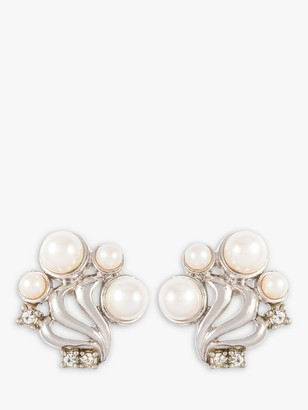 Susan Caplan Vintage Silver Plated Faux Pearl and Swarovski Crystal Clip-On Stud Earrings, Silver