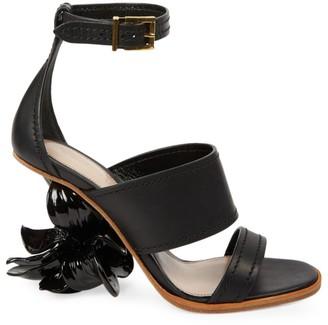 Alexander McQueen Floral-Heel Leather Sandals