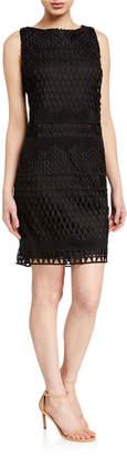 T Tahari Knit Sleeveless Crochet Sheath Dress