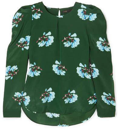 Maje Floral-print Crepe Blouse - Green