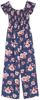 Cotton Emporium Smocked Short Sleeve Floral Jumpsuit
